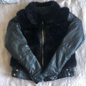 Blank NYC Womens Faux Fur Jacket in Black